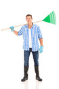 Man carrying fan rake cute over his shoulders Stock Images