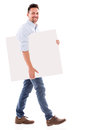 Man carrying a placard under the arm isolated over white Stock Photography