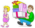Man carrying shopping bags his wife