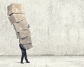 Man with carton boxes Royalty Free Stock Photo