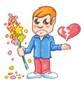 Man cartoon flower heartbroken Royalty Free Stock Photos
