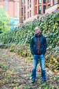 Man in casual clothes in the modern urban space Royalty Free Stock Photo