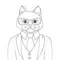Man cat coloring book illustration. Catman dressed in a suit.