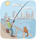 Man and cat fishing cartoon illustration of catching fish waiting for meal Royalty Free Stock Photography