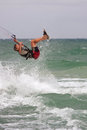 Man Catches Air Parasail Surfing In Florida Stock Photo