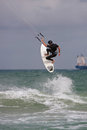 Man Catches Big Air Parasail Surfing In Florida Royalty Free Stock Photo
