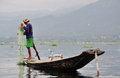 A man catching fish on lake in Shan, Myanmar Royalty Free Stock Photo