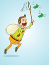 Man catching flying money illustration of a Royalty Free Stock Images