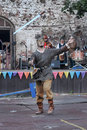 Man in chain mail demonstrates possession of the sword festival medieval culture vyborg russia Stock Photography