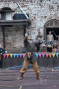 Man in chain mail demonstrates possession of the sword festival medieval culture vyborg russia Royalty Free Stock Photography