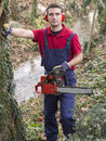 Man with chainsaw pruning a tree in day light Stock Photo
