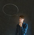 Man with chalk speech bubble talk talking business student or teacher on blackboard background Royalty Free Stock Photo