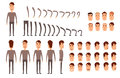 Man character creation set. Icons with different types of faces, emotions, clothes. Front, side, back view of male