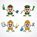 Man Character vector of cute different professions. Police. Policeman. Employee. Engineer.
