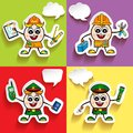 Man Character vector of different occupations with speech bubbles. Police, Policeman, Employee, Engineer.