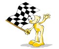 Man with checkered flag the chequered is displayed at the start finish line to indicate that the race is officially finished Royalty Free Stock Photo