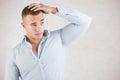 Man Checking Hair Royalty Free Stock Photo