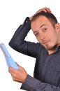 Man checking his hair loss in the mirror Royalty Free Stock Photo