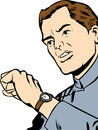 Man checking his watch comic book style illustrated Stock Photos