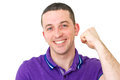 Man cheering with purple top Royalty Free Stock Photography