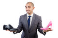 Man with choice of shoes Royalty Free Stock Images