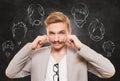 Man choose facial hair style, beard and mustache Royalty Free Stock Photo