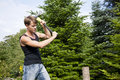 Man chopping wood in his garden Royalty Free Stock Images