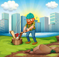 A man chopping woods across the tall buildings illustration of Stock Photography