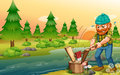 A man chopping woods at the riverbank illustration of Royalty Free Stock Photos