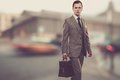 Man in classic grey suit with briefcase outdoors Stock Images