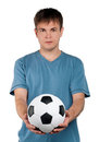 Man with classic soccer ball Stock Photography