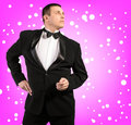 Man in a classical tuxedo Stock Image
