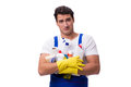 The man with cleaning agents isolated on white background Royalty Free Stock Photo