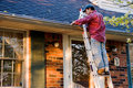 Man Cleaning Gutters Royalty Free Stock Photo