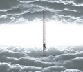 Man climbing businessman o ledder from cloud to cloud Stock Image