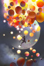 A man climbing fantasy balloons against fictional planets background Royalty Free Stock Photo