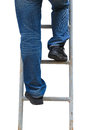 Man climbing ladder isolated worker wearing blue jeans on white Stock Photos