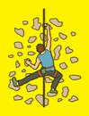 Man climbing on the wall , Hiking indoor