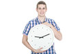 Man with a clock young over white background Stock Photos