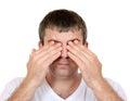 Man closing his eyes Royalty Free Stock Photo
