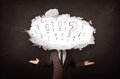 Man cloud head with question business and exclamation marks concept Stock Photography