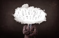 Man cloud head with question and exclamation business marks concept Royalty Free Stock Photos