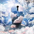 Man clouds paint keyhole head Royalty Free Stock Photos
