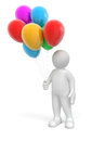 Man with coloured balloons image clipping path Royalty Free Stock Images