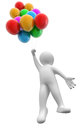 Man with coloured balloons image clipping path Stock Image