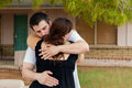 Man Comforts Wife Before Home Birth Royalty Free Stock Photo