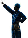 Man construction worker pointing silhouette Royalty Free Stock Photo