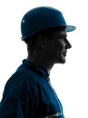 Man construction worker profile portrait Royalty Free Stock Photo