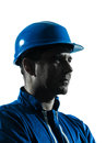 Man construction worker profile sideview silhouette portrait Royalty Free Stock Photo