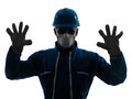 Man construction workwear silhouette portrait Royalty Free Stock Photos